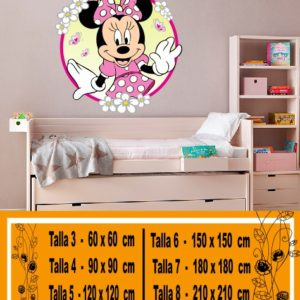 Vinilos decorativos disney Minnie con flores a color